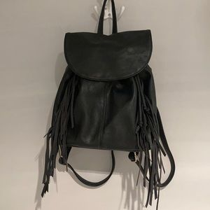 KENSIE Small black backpack with fringes